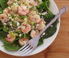 Warm Shrimp, Quinoa & Spinach Salad quinoa recipe, quinoa shrimp, spinach salad, food, shrimp spinach, lunch, quinoa salad, warm shrimp, salads