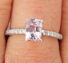 Rectangle Cushion Pale Pink Spinel and Diamond Engagement Ring in 14k White Gold See Made to Order Alternative to Morganite. $623.00, via Etsy. Anniversary Rings, Accessori, Pale Pink Engagement Ring, Engagements, Cushion Pale, Cushions, Engag Ring, Pink Diamonds, Engagement Rings