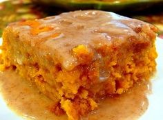 Two Ingredient Pumpkin Cake http://www.justapinch.com/recipe/angela-gray/pumpkin-cake-with-cider-glaze/quick-easy-cake-for-kids  1 yellow cake mix 1 can(s) pumpkin puree (not filling) 15 oz. APPLE CIDER GLAZE 3 Tbsp apple cider 1 1/2 c powdered sugar 3/4 tsp pumpkin pie spices