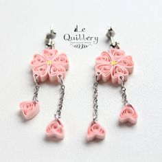Light Pink Cherry Blossom Filigree Earrings - Handmade Paper Quilling Jewelry by LeQuillery on Etsy, $15.00