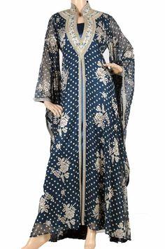 """Teal Night Rose kaftan"" Velvet chiffon abaya with embroidery (WN-782)   $163.50"