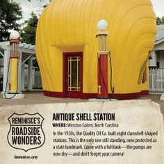 Road Trip America: Antique Shell Station in Winston-Salem, North Carolina (c/o Reminisce magazine)