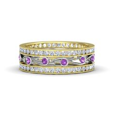 The Sea Spray  Band customized in amethyst, diamond, white gold and yellow gold
