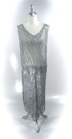 1920's Chevron Tabard Gown - Silver Metallic. $245.00, via Etsy.