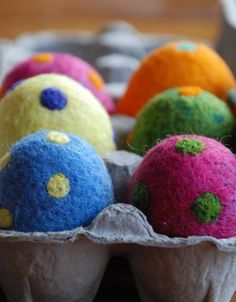 6 Polka Dot Needle Felted Easter Eggs by greenbaboondesigns