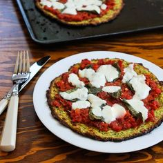 Recipe for Zucchini Crust Vegetarian Pizza Margherita (on the grill or in the oven) from Kalyn's Kitchen