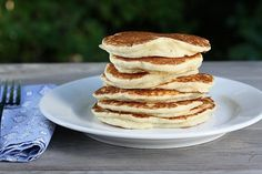 Coconut Pancakes by firstlookthencook. Recipe by cookinglight: Thick and fluffy, make some extra to warm up in the microwave the next morning! #Coconut_Pancakes #cookinglight #firstlookthencook