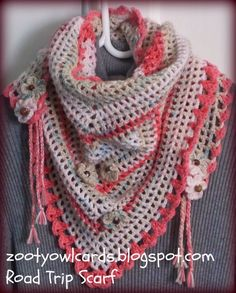crochet road trip scarf, road trip scarf patterns, free pattern, road trips, triangl granni, triangl scarf, yarn, trip scarv