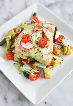 Salmon w/ Roasted Veggies & Dill Herb Sauce