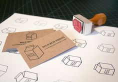 Milk Box Prints DIY business cards: kraft paper and stamps  http://arielleweiler.com/2012/08/rubber-stamp-business-cards/