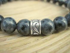 Men's Norwegian Black Moonstone Bracelet - Celtic Motif