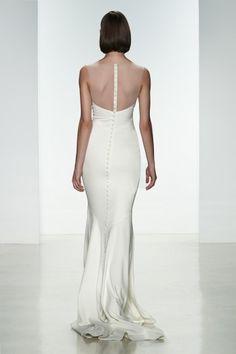 "Amsale Spring 2015 ""May"" gown back. Heavy crepe slim fit to flare gown with #illusion neckline and covered buttons to waist. #lowback"