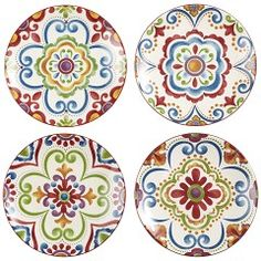 Pier 1 Medallion Appetizer Plate Set