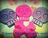 Grimm's Wax Skulls N' Roses- Fruit Sherbet Scented Melts / tarts ----Steampunk - Shabby Chic-Handmade-BDSM-play Wax. $6.00, via Etsy.
