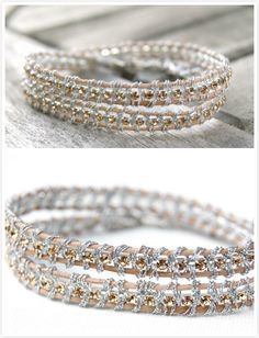 Make this sparkly rhinestone wrap bracelet yourself with just a few supplies!