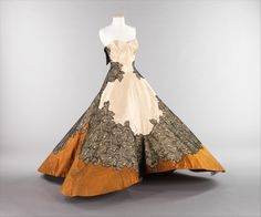 """""""Four Leaf Clover,"""" Charles James (American, born Great Britain, 1906–1978): 1953, American, silk. """"For the Eisenhower Inaugural Ball of 1953, Austine Hearst, the wife of Mr. William Randolph Hearst, Jr., commissioned Charles James to create something for her to wear. Although the resulting garment was not, in typical Jamesian manner, completed in time for the function, it has since become one of the icons of mid-century couture and by James's own evaluation, his pinnacle in dressmaking."""""""