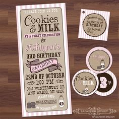 for the kid who loves her cookies...    Birthday Party Invitation - Cookies & Milk- Rustic, Vintage, Western, Cowgirl, Pink, Girl  DIY Digital Printable. (typography, poster style). $16.50, via Etsy.