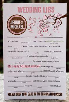Wedding Mad Libs PDF FILE Print Yourself Cherry Blossoms via Etsy