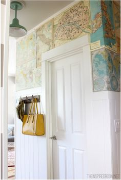 DIY Map Wallpaper Feature Wall  - do it with book pages instead