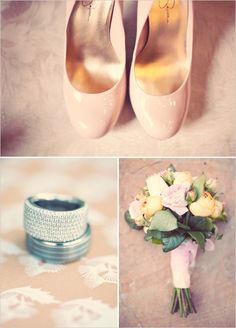 field, bouquet, jessica simpson, peach weddings, wedding shoes, pink weddings, blush pink, pink shoes, peaches