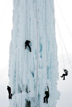 Silo Summit: Climbers scale a 70' grain silo in Cedar Falls, Ia ahead of the Silo Summit Ice Climbing Competition.