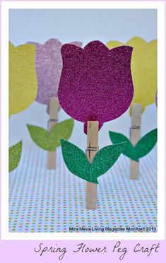 Spring Flower Peg Craft for kids #Spring #crafts #flowers