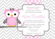 Mod PINK & GREY OWL invitation  You Print  by PrettyPartyCreations, $11.50