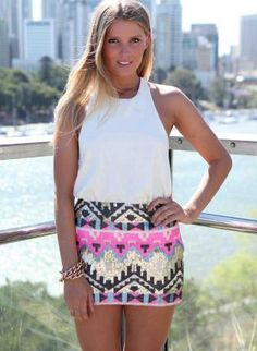 Pink Tribal Sequin Skirt #aztec