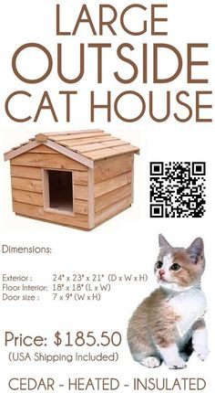 Large Insulated Cedar Outside Cat House – Small Dog House. Weighing 26 pounds this large insulated cedar cat house – small dog house can accommodate two average sized cats or one small dog. #outdoorcathouse #outsidecathouse #catoutsidehouse #cat #outdoor #outside #house www.catbedandtoy.com