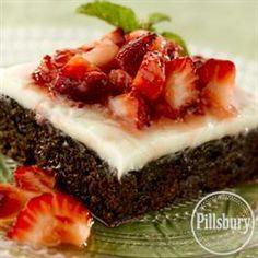 White Chocolate Ganache Brownies with Strawberries from Pillsbury® Baking