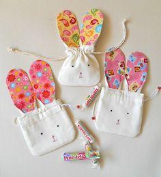 Easter Bunny Gift Bag- Cute Easter Bunny Drawstring Pouch- Bunny Rabbit Mini Bag-Spring Celebration Favour Bag- Bunny Storage