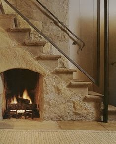 Fireplace and stone steps