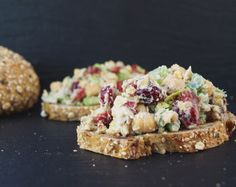 Cranberry Walnut Chickpea Salad Sandwich Opened Faced