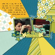 A Boy & His Toys Be Young Boy Digital #Scrapbooking Layout Idea from Creative Memories  http://www.creativememories.com