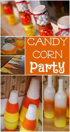 Candy corn party crafts- baby food jar party favors, candy corn yarn trees, candy corn spray painted wine bottles, candy corn tissue paper poms, fabric banner.