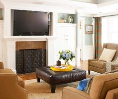 A large leather ottoman makes a cozy and comfortable way to enjoy your living room space: http://www.bhg.com/rooms/living-room/family/living-room-decorating-ideas/?socsrc=bhgpin061914righttvsize&page=12