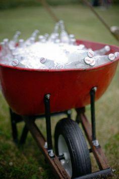 wheelbarrow of beverages
