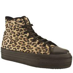 Women's Beige & Brown Schuh Creep Platform Hi Top Leopard at Schuh