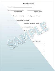 student, parent form, parent questionnair