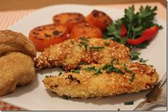 Baked chicken tenders and tropical sweet potatoes