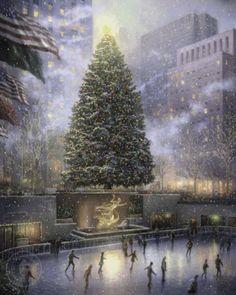 Thomas Kincade painting..Christmas in New York
