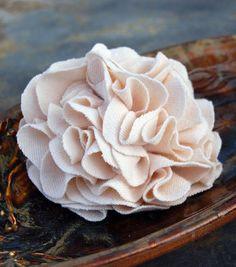 Cream Carnation Pin/Brooch Recycled Tshirt