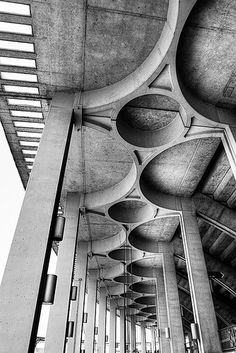 """'Beautiful Concrete' (2005) photographed by Robert """"Ferd"""" Frank. Detail of Busch Memorial Stadium before it was demolished. Interesting post. via flickriver"""