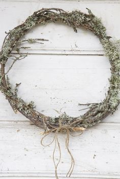 Lichen twig wreath. A natural wonder, Oak Moss belongs to the element Earth, growing on barks of trees, with a gray suede like appearance. Use this sweet smelling 'moss' in Prosperity spells, Gnome magic and spells to Mother Earth.