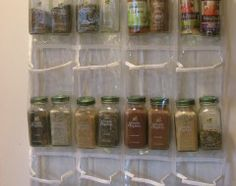 Use a Hanging Shoe Organizer on the back of pantry door or wall to organize spices.