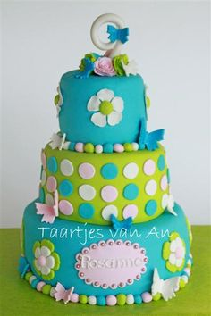 polka dots, beauti cake, bright colour, birthdays, birthday girl, colors, flower cakes, blue cakes, birthday cakes