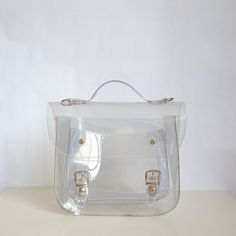 Bag number 3 Clear transparent plastic satchel shoulder strap (Handmade to order) by Etsy @Luvocracy |