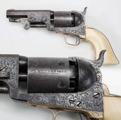 "COLT MODEL 1851 REVOLVER: While most of the standard production run of the ""Navy"" Colt model came out of the Hartford factory with a 7.5 inch barrel, this c.1853-made engraved example with ivory grip panels is quite a bit shorter, coming in at just 4 inches. Custom presentation examples like this truncated Colt are extremely rare, but the small sideways ""2"" following the cylinder number may indicate that this revolver was one of a pair."