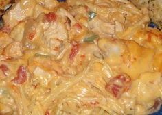 Would have to modify a bit, but sounds delish! Cheesy, Chicken, Mexican spaghetti!