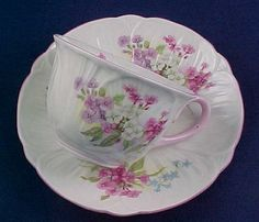 Shelley Tea Cup and Saucer Multi Floral Pink Trim Fine Bone China